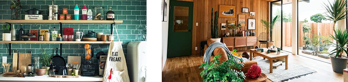 キッチンと中庭の写真