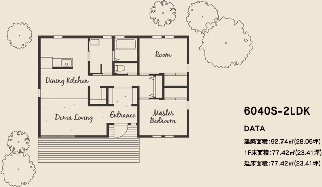 6040S-2LDKの平面図