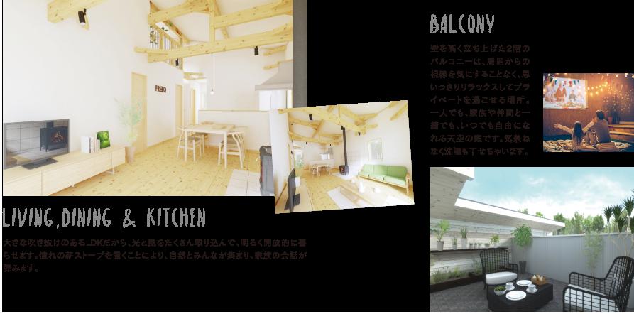 バルコニー・リビング・キッチンの説明画像